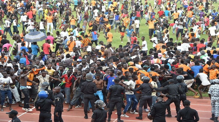 Ivory Coast fans invade the pitch