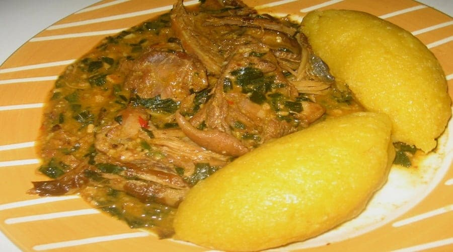 Eba And Okro Soup