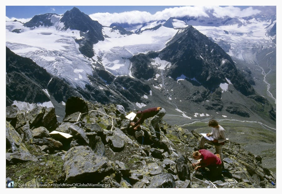 Scientists count and measure plants high in the Austrian Alps. Photo: worldviewofglobalwarming.org
