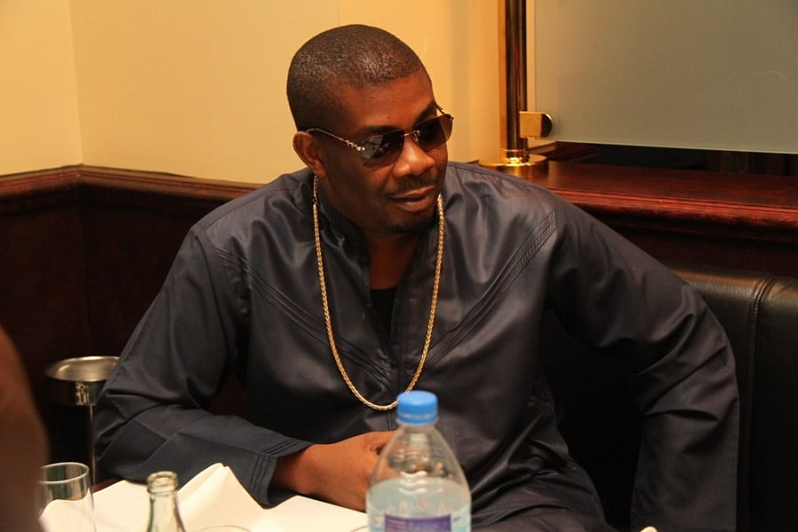 Don Jazzy taking some refreshments