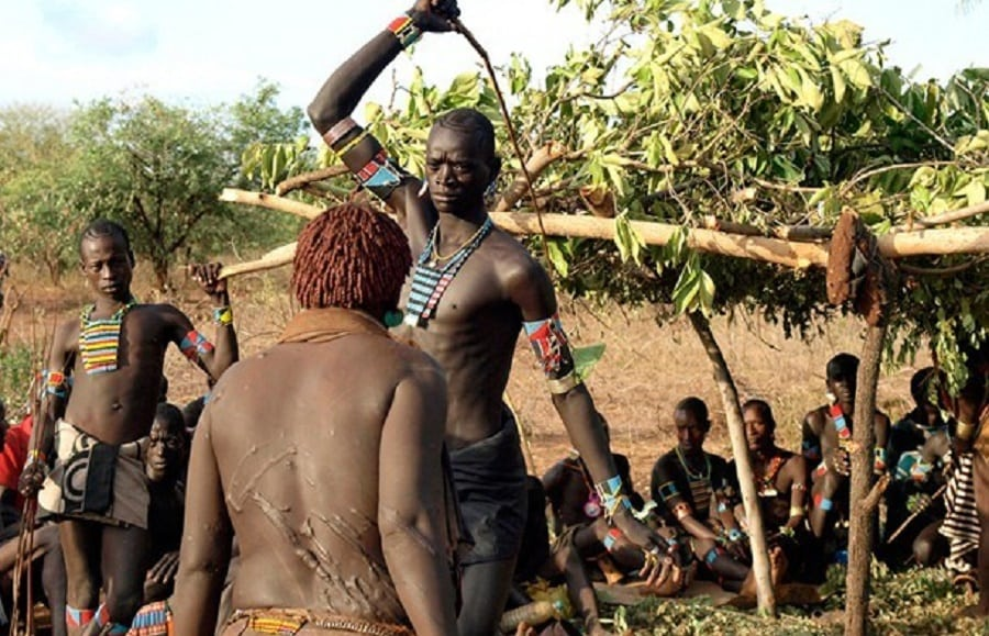 A Fulani groom undergoing traditional flogging | Photo credit:buznigeria.com