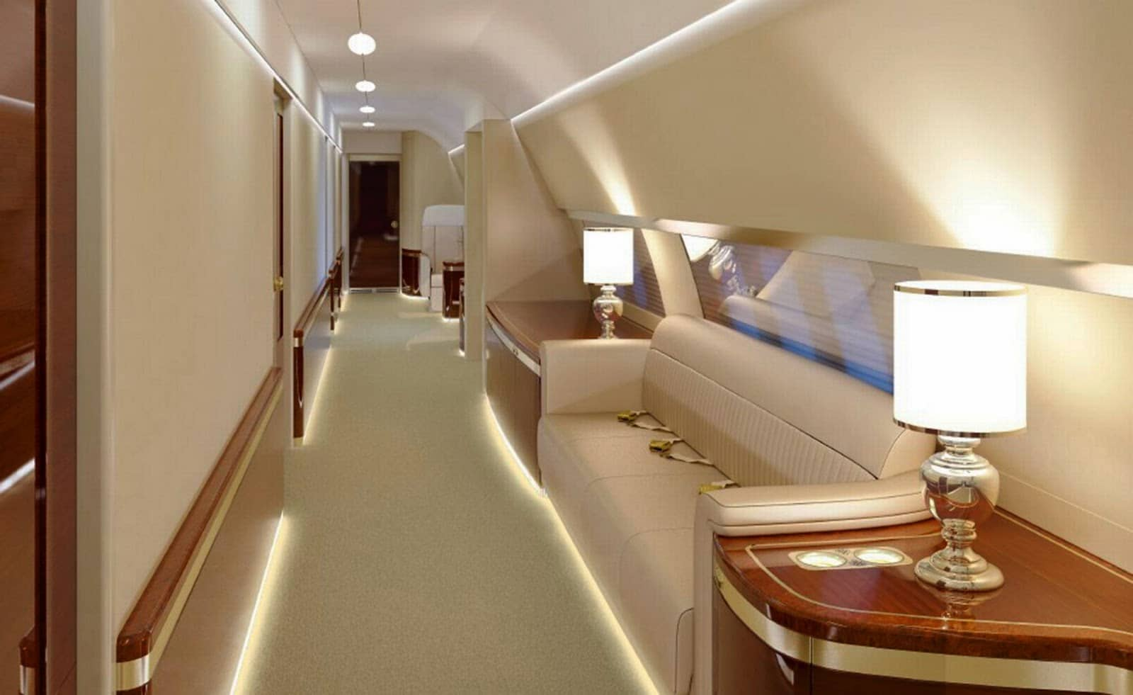 The interior of the Tinubu's Bombardier Challenger