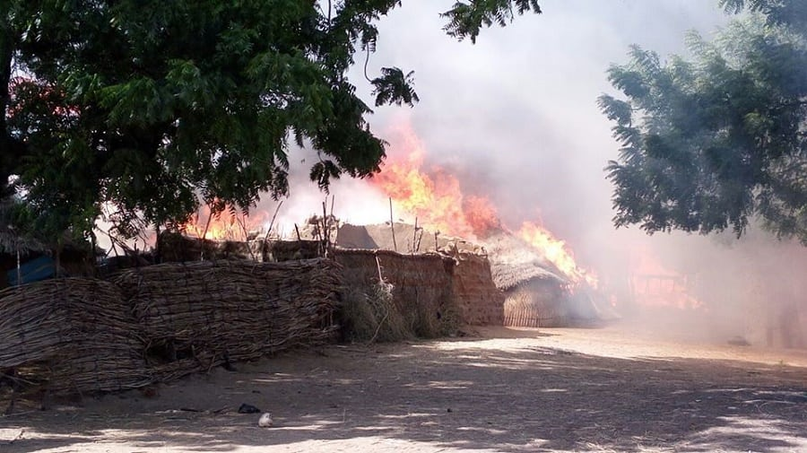 Nigerian Army setting Boko Haram camps on fire in Borno state