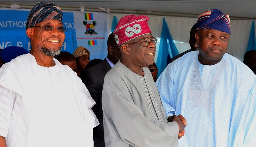 Governor, Akinwunmi Ambode (right), and All Progressive Congress, National Leader, Senator Bola Hamed Tinubu (middle), and Ogbeni, Rauf Aregbeshola, Osun State governor during the commissioning of Ikorodu road | Photo credit: osun.gov.ng