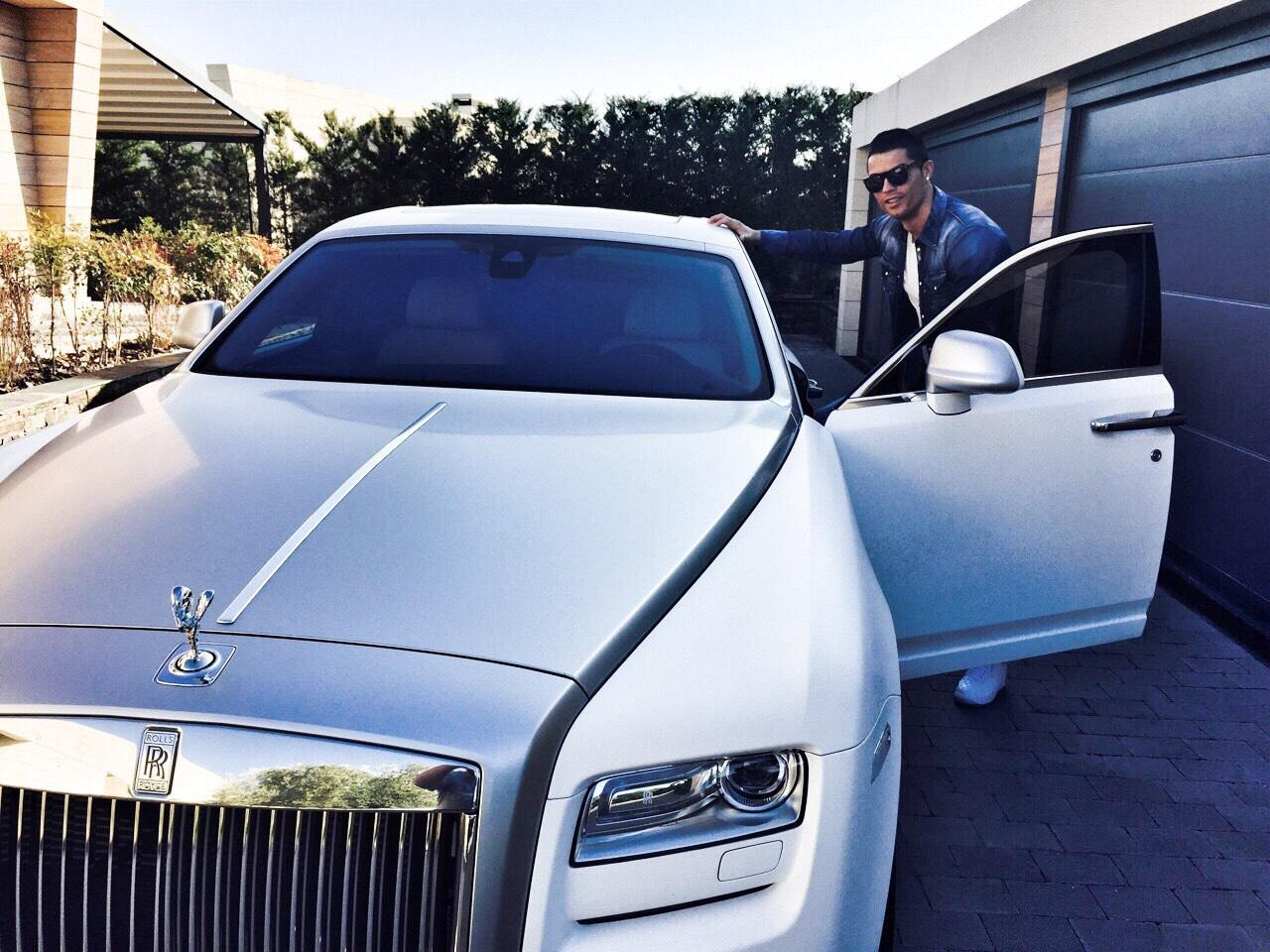 Cristiano Ronaldo Leaves For Training In His Rolls Royce Ghost