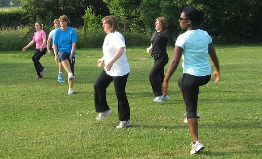 Group exercise in a park | Photo credit: peoplefirstinfo.org.uk