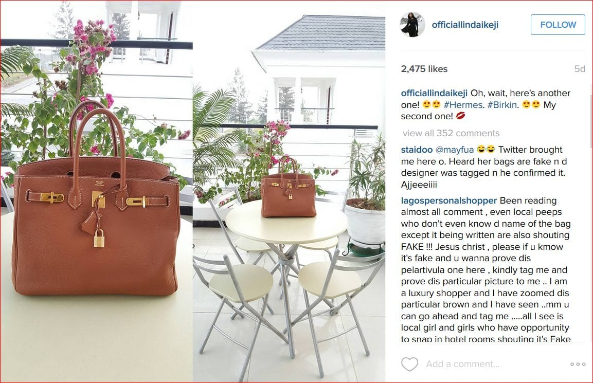 Linda Ikeji Hermes Birkin Bag
