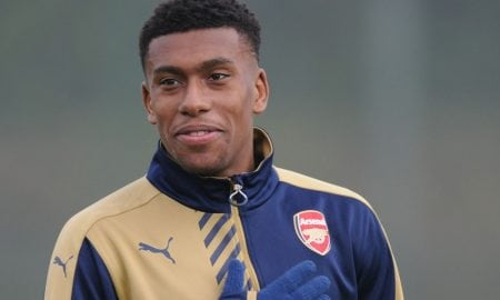 Arsenal striker Alex Iwobi arrive Abuja camp