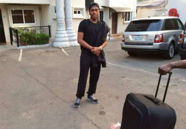 Arsenal striker Alex Iwobi arrive the Abuja camp