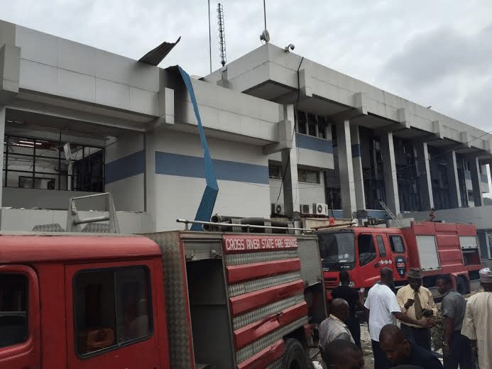 CBN Office in Calabar surrounded by the fire fighters van