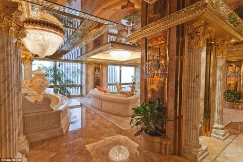 Donald and Melania Trump's New York City penthouse is on the 66th floor of Trump Tower and features marble walls