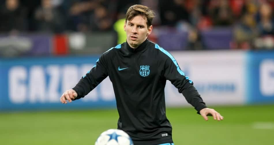 Lionel Messi during the UEFA Champions League game between Bayer