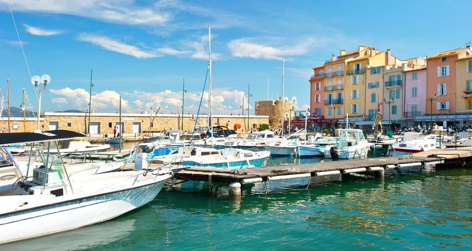 Harbor of St. Tropez. mediterranean landscape with boats and old buildings
