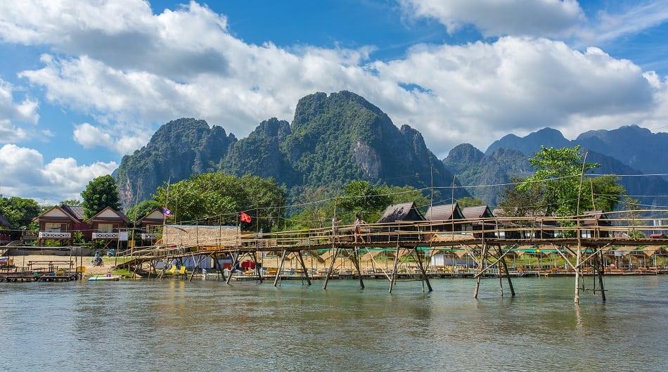 Wooden bridge across Nam Song