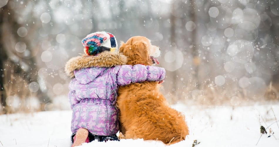 child and dog together in snow