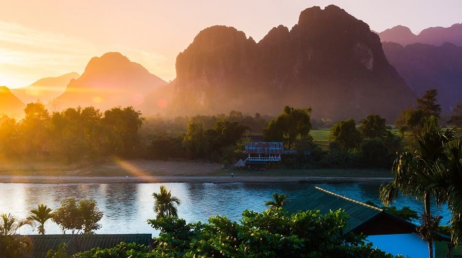 Sunset at Song river Vang Vieng