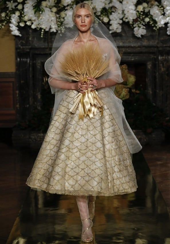yolan cris short wedding gown