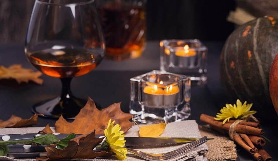 tea lights on thanksgiving table